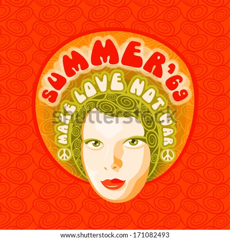 60s poster with face of hippie beauty - stock vector