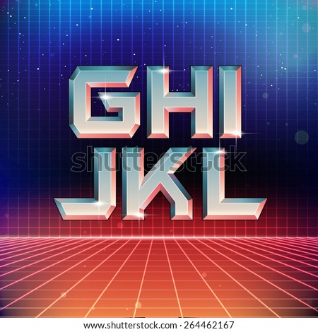 80s Retro Futuristic Font from G to L - stock vector