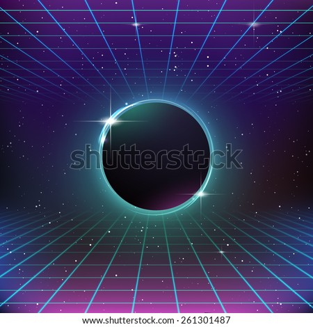 80s Retro Sci-Fi Background - stock vector