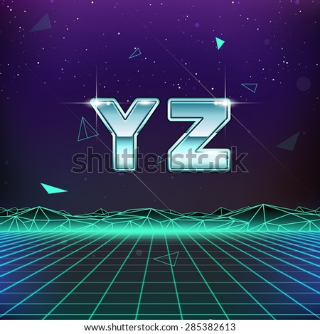 80s Retro Sci-Fi Font from Y to Z - stock vector