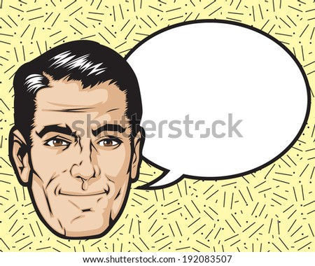 1950s 1960s cartoon with word bubble. Layered and easy to edit. - stock vector
