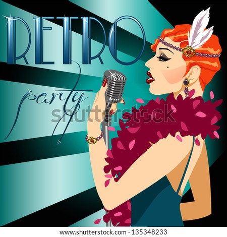 20s 30s Party Invitation with abstract singing woman and sample text. 1920s Poster. - stock vector