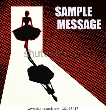 1950's Style Retro Message Background. Vector illustration with a stylish lady silhouetted in a doorway - stock vector