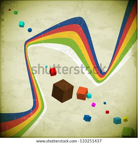 80s styled aged card with cubes and ribbons - stock vector