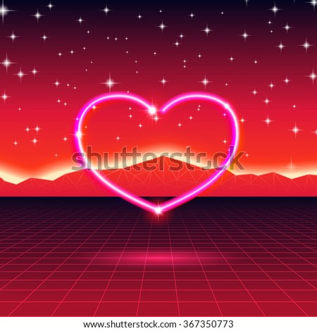 80s styled retro futuristic card with neon heart - stock vector