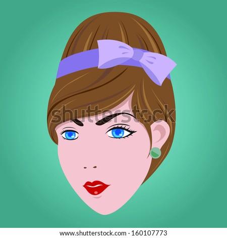 60s Woman Hair Style EPS10 - stock vector