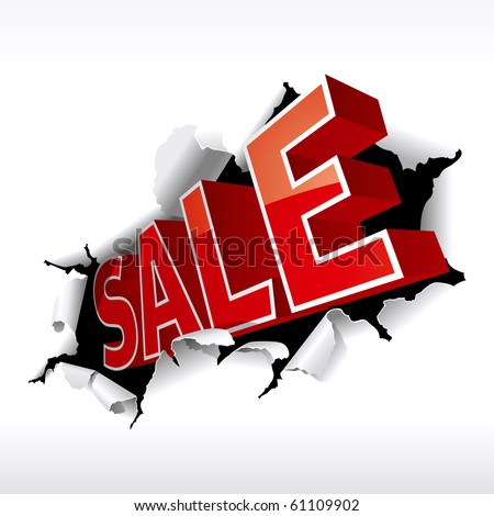 """SALE"" Inscription Break Through White Background. Vector Illustration - stock vector"
