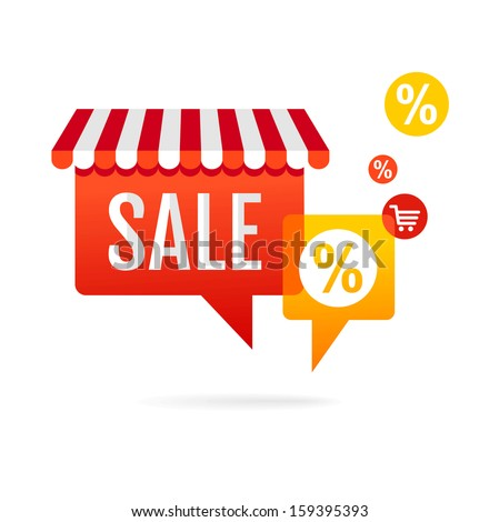 Sale symbol. Speech bubbles with awning  - stock vector