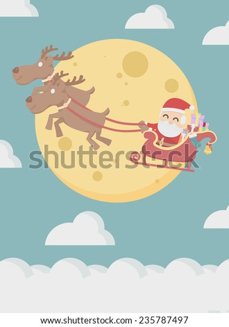 Santa Claus with reindeer fly over the cloud and the moon  - stock vector