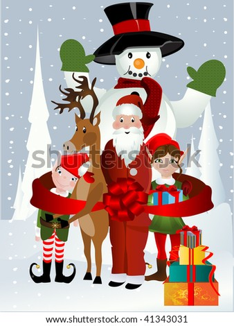 Santa Clause, Rudolph, Elf and Snowman - stock vector