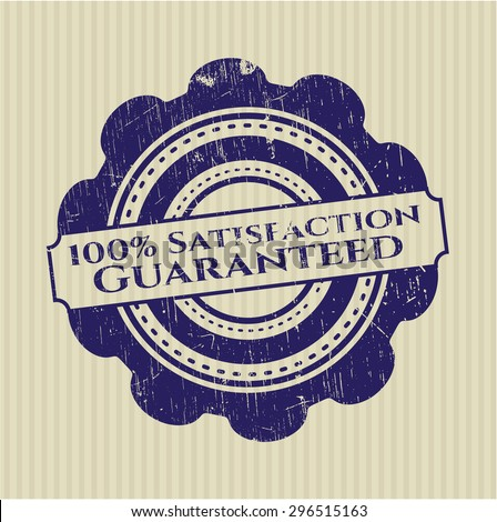 100% Satisfaction Guaranteed rubber seal - stock vector