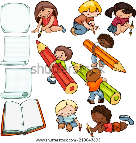 school set, children draw and blank forms for text - stock vector