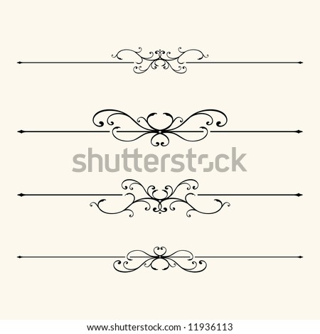 4 scroll lines. - stock vector