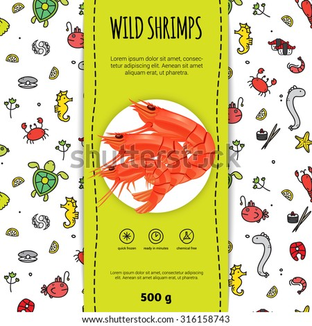 Seafood packaging design for wild shrimps with plate flat vector illustration  - stock vector