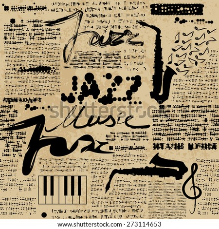 Seamless background pattern. Newspaper Jazz. Text is unreadable. - stock vector
