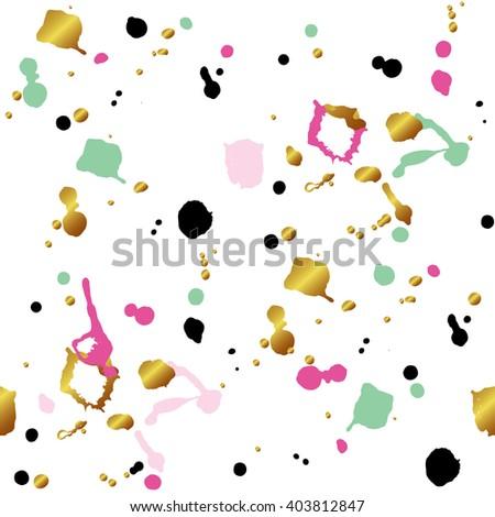 Seamless blot pattern. Drops texture. Black and gold glitter, pink, blue brush stroke. Vector illustration - stock vector
