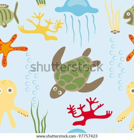 Seamless drawing of sea animals - stock vector