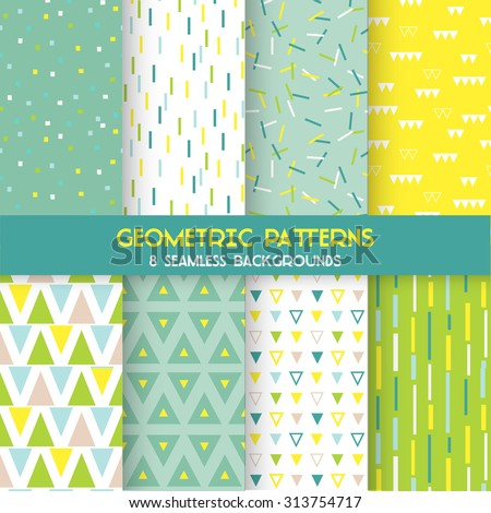 8 Seamless Geometric Patterns - Texture for wallpaper, background, textile, scrapbook - in vector - stock vector