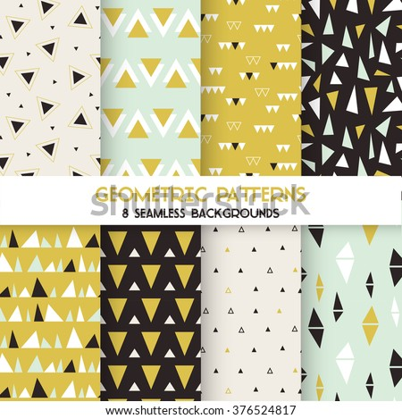 8 Seamless Geometric Triangles Patterns - Texture for wallpaper, background, textile, scrapbook - in vector - stock vector