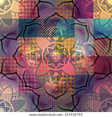 Seamless pattern of mandala symbol on background in patchwork style. - stock vector