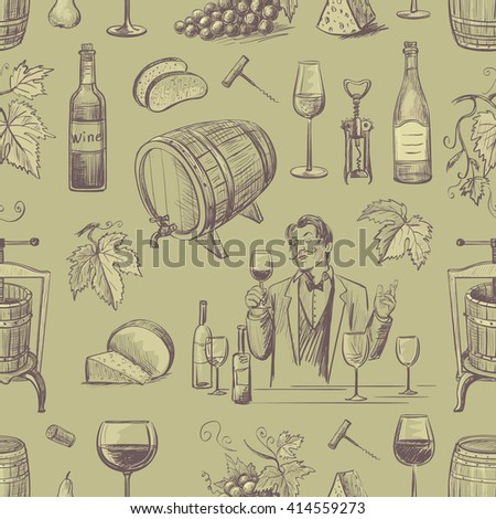 Seamless pattern of wine and wine making. Isolated objects on olive background. - stock vector