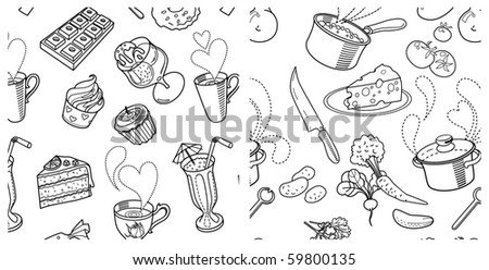 2 seamless pattern: Sweets and cooking vegetable soup - stock vector