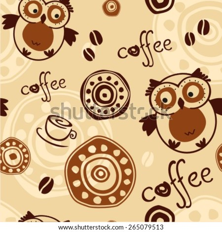 seamless pattern with cup of coffee, text, owl and coffee beans - stock vector