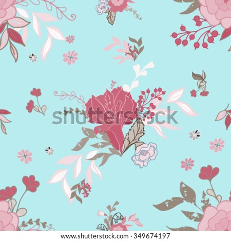 Seamless pattern with flowers, eps10 format - stock vector
