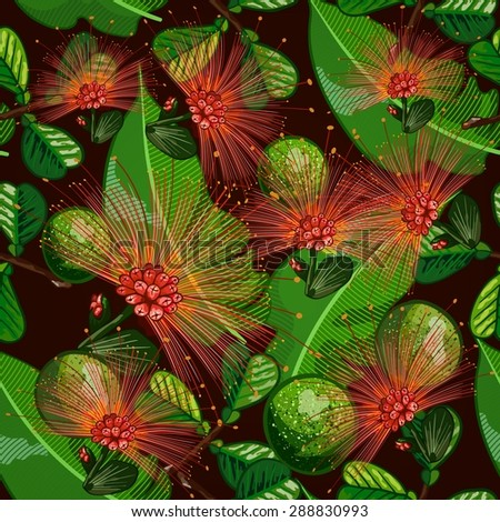 seamless pattern with tropical fruits and flowers - stock vector