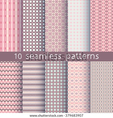 10 seamless patterns for universal background. Endless texture can be used for wallpaper, pattern fill, web page background. Vector illustration for web design. - stock vector