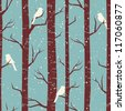 Seamless tiling pattern with birches and birds in winter. - stock vector