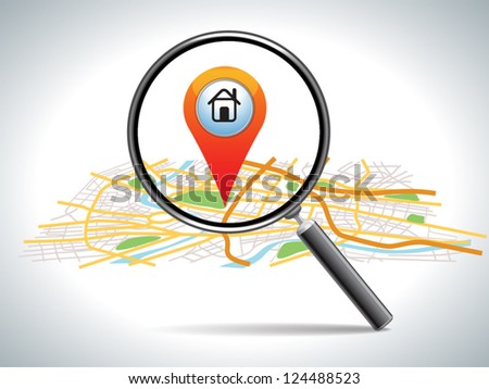 search for home on map location, vector illustration - stock vector