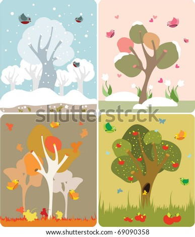 4 seasons of the year in a cute style - stock vector