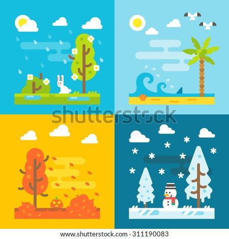 4 seasons park flat design set illustration vector - stock vector
