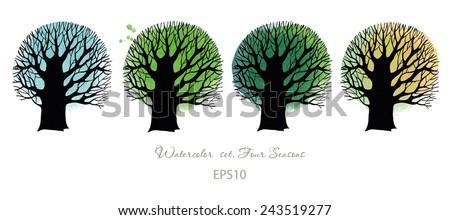 4 seasons tree. Watercolor vector background - stock vector