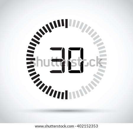 30 second timer - stock vector