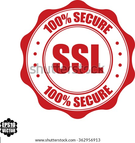 100% secure SSL stamp.Vector. - stock vector