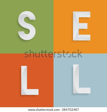 'SELL' four-letter-word for websites, illustration, vector - stock vector