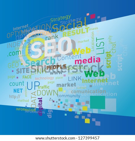 """seo"" flying words on blue - stock vector"