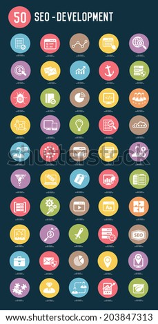 50 SEO Internet marketing flat icons,color vector - stock vector