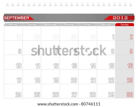 2012 September-Planning Calendar, Week starts on Monday. - stock vector