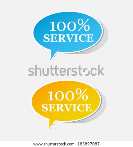 100% service label realistic sticker sign set. Vector illustration - stock vector