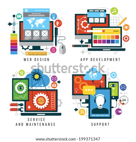 Set design and mobile web services and applications. Vector collection of concepts flat icons for web design, App development, service and maintenance, support - stock vector