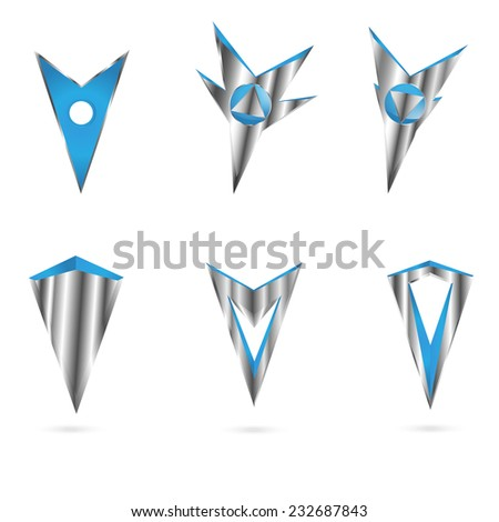 set metal markers tags to map isolated on white background - stock vector
