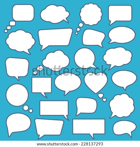 Set of  blank empty white speech bubbles Vector illustration. - stock vector