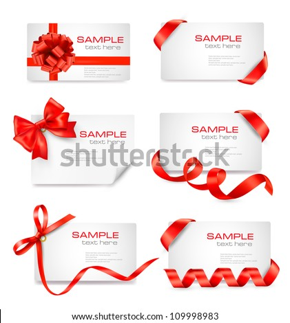 Set of card notes with red gift bows with ribbons Vector - stock vector