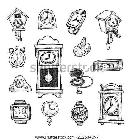 Set of clocks and watches, Hand drawn vector illustration. - stock vector