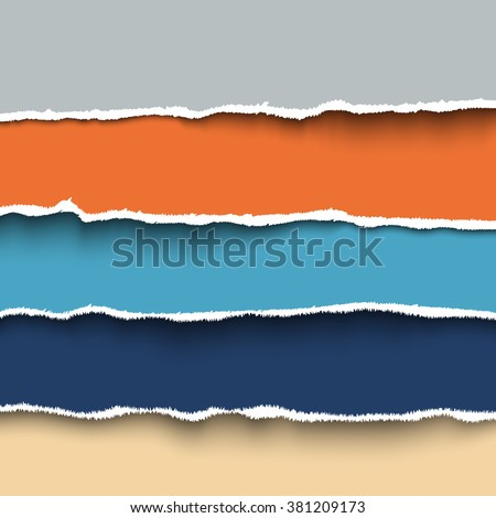 Set of colorful pieces torn paper with ripped edges, torn cardboard. Vector template for your design, header or banner for web sites - stock vector