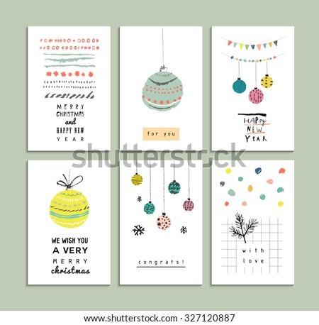 Set of cute hand drawn cards. Merry Christmas and Happy New Year. Holiday invitation design. Vector. Isolated - stock vector