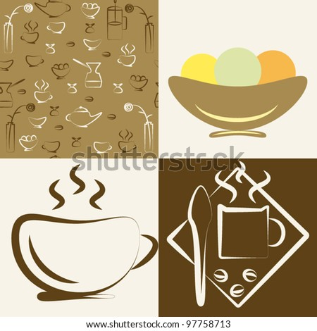 """Set of drawings on a theme """"cafe"""" - stock vector"""